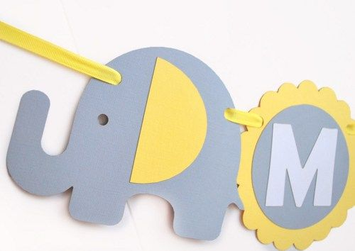 Baby Shower Banner name, Elephant baby shower in baby Yellow Grey and White, Welcome Baby party banner A460   MariaPalit