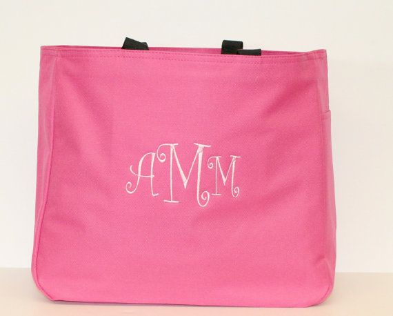 Monogram Beach Bags Water Resistant Tote Bags Available in 20 Colors