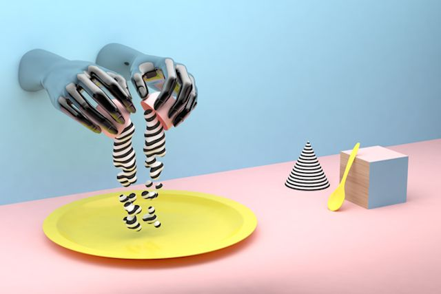 """Graphic and Creative 3D Artwork  As part of editorial works for news paper such as """"El Mundo"""", artist Dani Aristizabal has created these 3D artworks inspired by graphic and colorful Memphis style. In these playful stills, eggs are the main creation subject and the artist amuses himself creating patterned shells. To discover in images."""