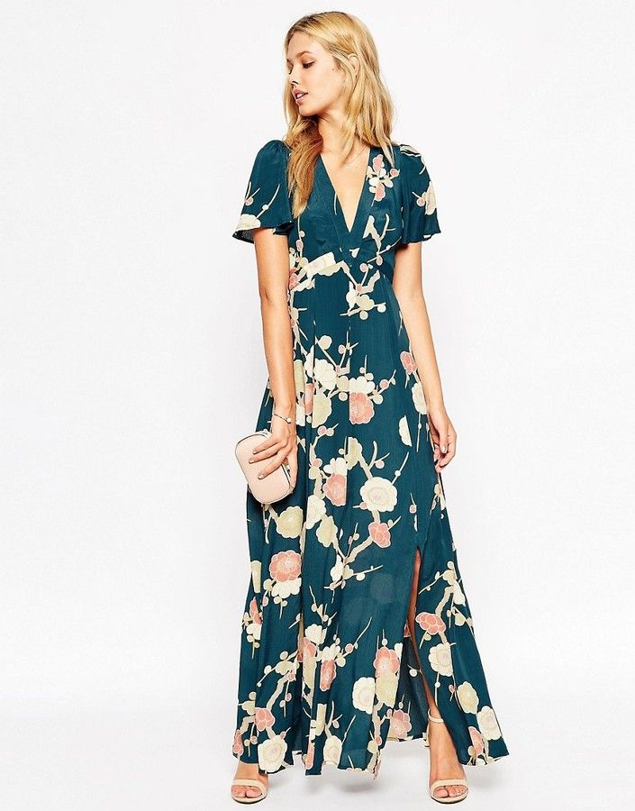 ASOS WEDDING Maxi Dress with Wrap Front in Floral Bloom