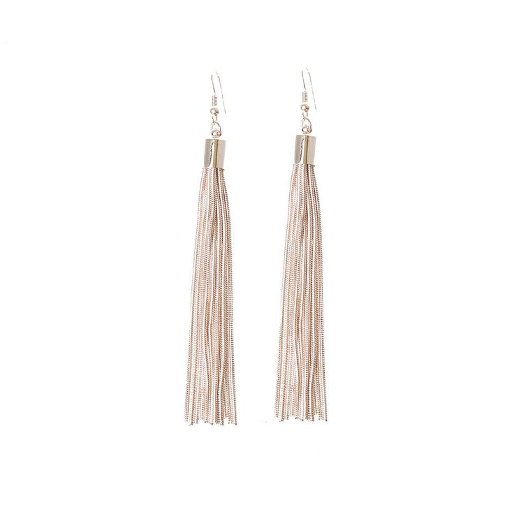 15.99 ADOPTING THE KEY TASSEL TREND TO METALS ARE THESE ROSE GOLD CHAIN EARRINGS.
