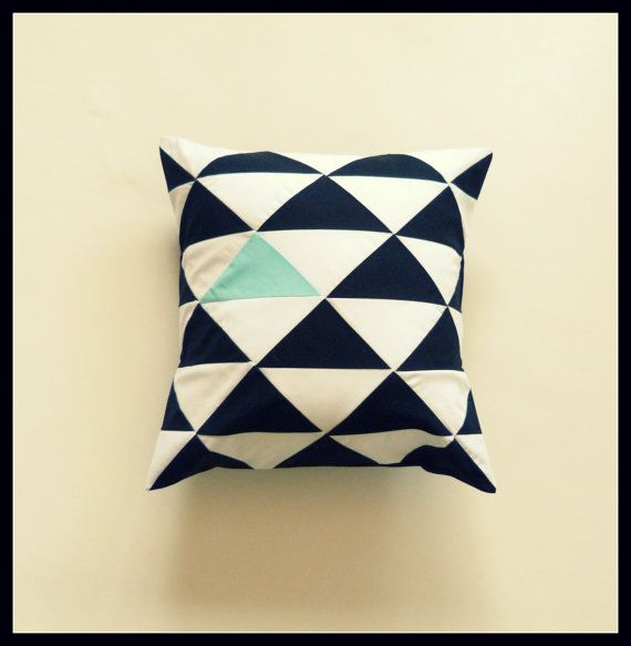 16X16 inches - Geometric triangle pillow cover - black and white patchwork pillow cover with blue accent - cushion cover - geometric pillow. $34.00, via Etsy.
