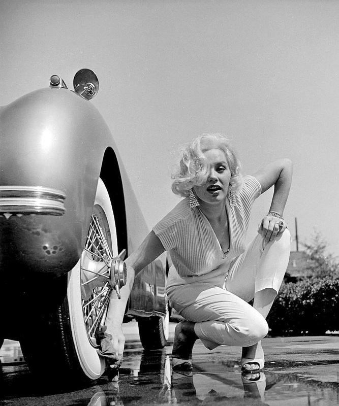 Marilyn gives her Jaguar a carwash