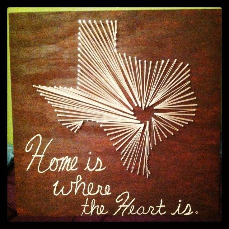 Texas string art!! So easy to do! - GOOD IDEA USING THE YARN FOR THE TEXT
