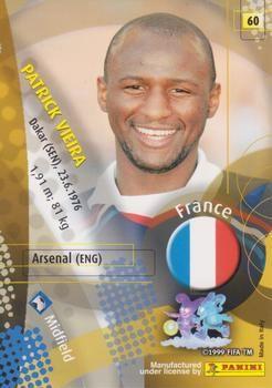 2002 Panini World Cup #60 Patrick Vieira Back
