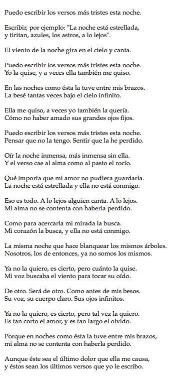 Pablo Neruda - Poema XX Me encanta