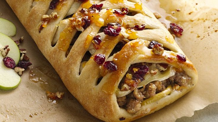 Braid pizza crust and bake around a made-for-each-other mix of pork, apples, brie and cranberries. Brunch anyone?