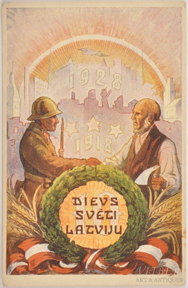 Vitber :: atklātne, Latvijai 10 gadi, 1928 gads, 20-30tie g. 20 gs., 9 x 14 cm