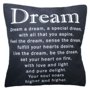 The Dream Cushion - Throw Pillow by Chelsea Design NZ. Inspirational verse - Linen look and feel. 45cmx45cm, Machine washable 100% polyester - concealed zip. Cushion cover on its' own or supplied with 400gm scatter tigerfil inner.