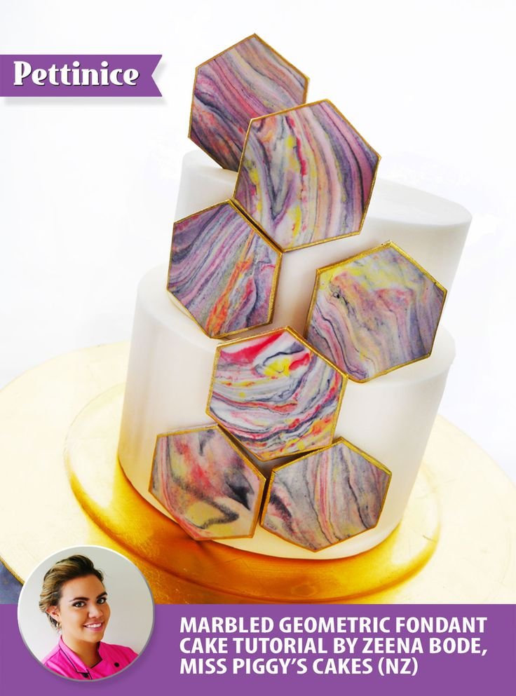 Pettinice | How to make a Geometric inspired marbled cake