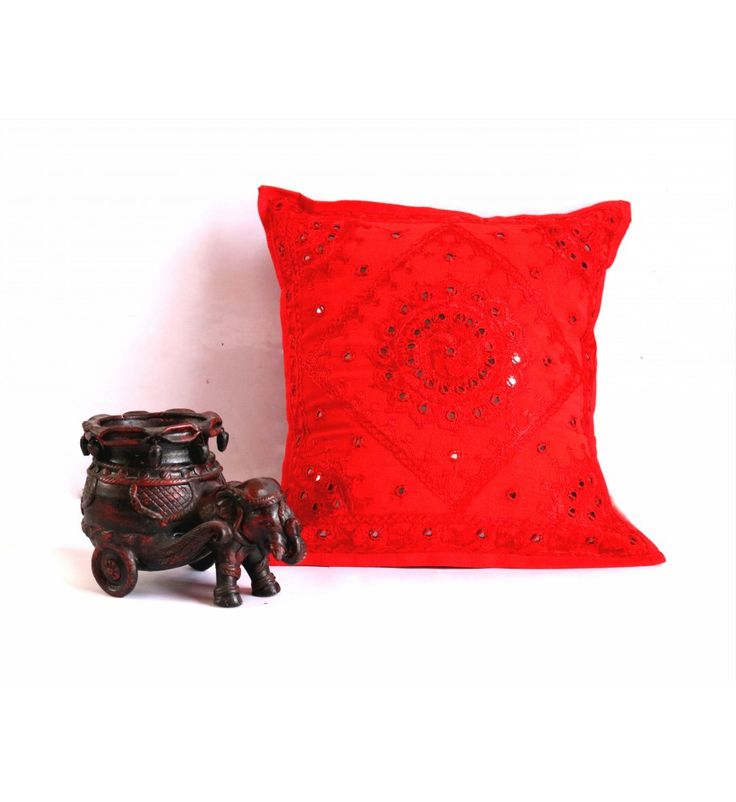 Red Mirror Embroidered Decorative Sofa Bohemian Pillow Cushion Throw Cover  16*