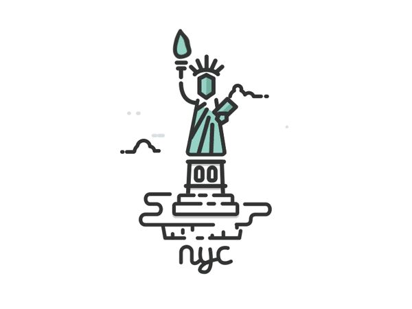 New York City line illustration and animation from a series of USA Cities illustrated and animated GIFs.