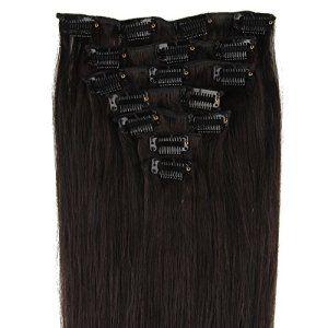 Beauty7 7 Clips Extensions de Cheveux Humains à Clip 100% Remy Hair 1B Couleur Noir Brun Longueur 40 cm Poids 70 grams: Tweet The Clips…