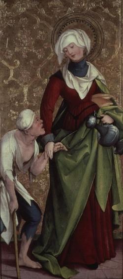 Museum Trier: Beuroner Kunstverlag: Hl. Elisabeth von Thüringen : Produkte. Martin Schaffner. Good middle class dress. 1524-1535 (looks like pleats right in front)