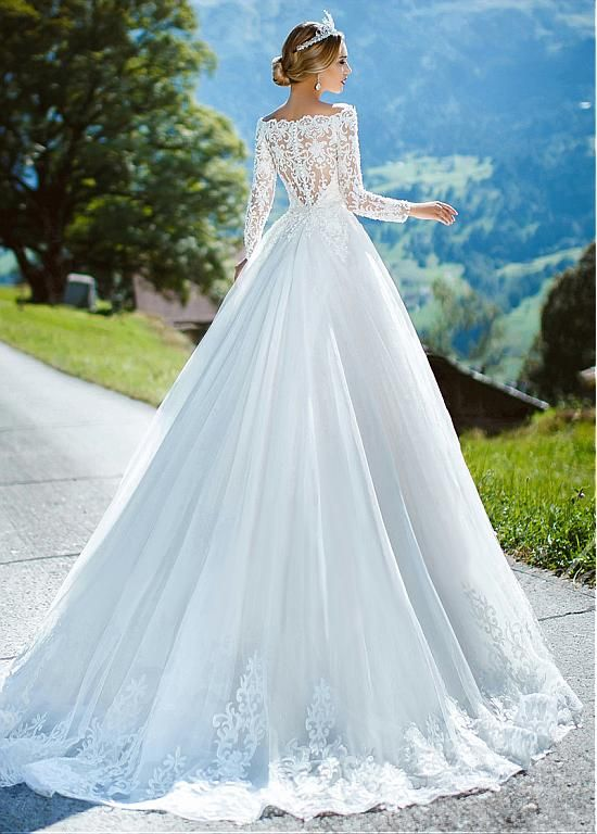 Magbridal Wonderful Tulle Off-the-shoulder Neckline A-line Wedding ceremony Gown With Lace Appliques & Beading & Belt