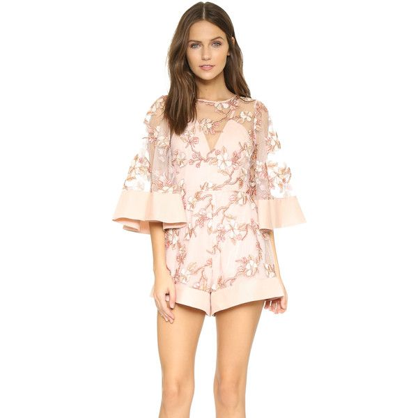 Alice McCall Fact or Fiction Romper ($320) ❤ liked on Polyvore featuring jumpsuits, rompers, blush blossom, playsuit romper, pink rompers, alice mccall and pink romper