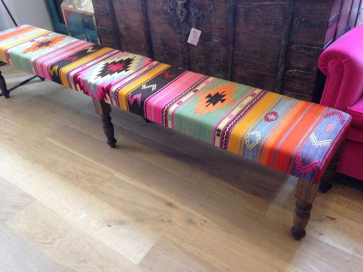 Kilim bench for at a dining table.