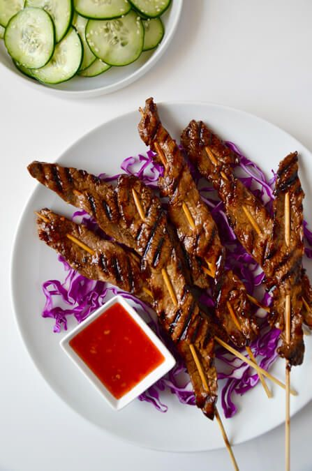 All you need is five ingredients for this quick and easy recipe for beef satays made with fresh garlic, soy sauce, honey and more.