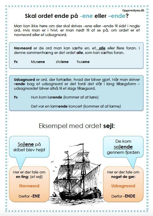 Foreskellige opgaver til folkeskolens mellemtrin. Opgaver til dansk med grammatik, skrivning, ordklasser. Natur og teknik og historie.