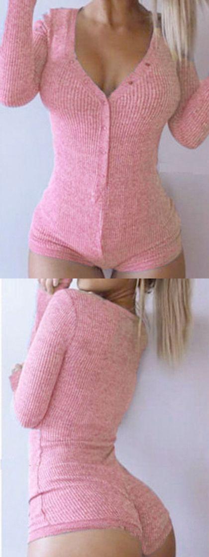 Pink V-neck Buttoned Front Cable Knit Bodysuit - Choies.com