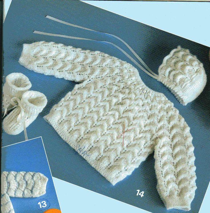 material - 80g de lã branca  ag n°3  2m de fita com 1/2cm de largura  6 botões   Ponto I - barra 1/1  Ponto II - barra 1/1, sendo que os p ...