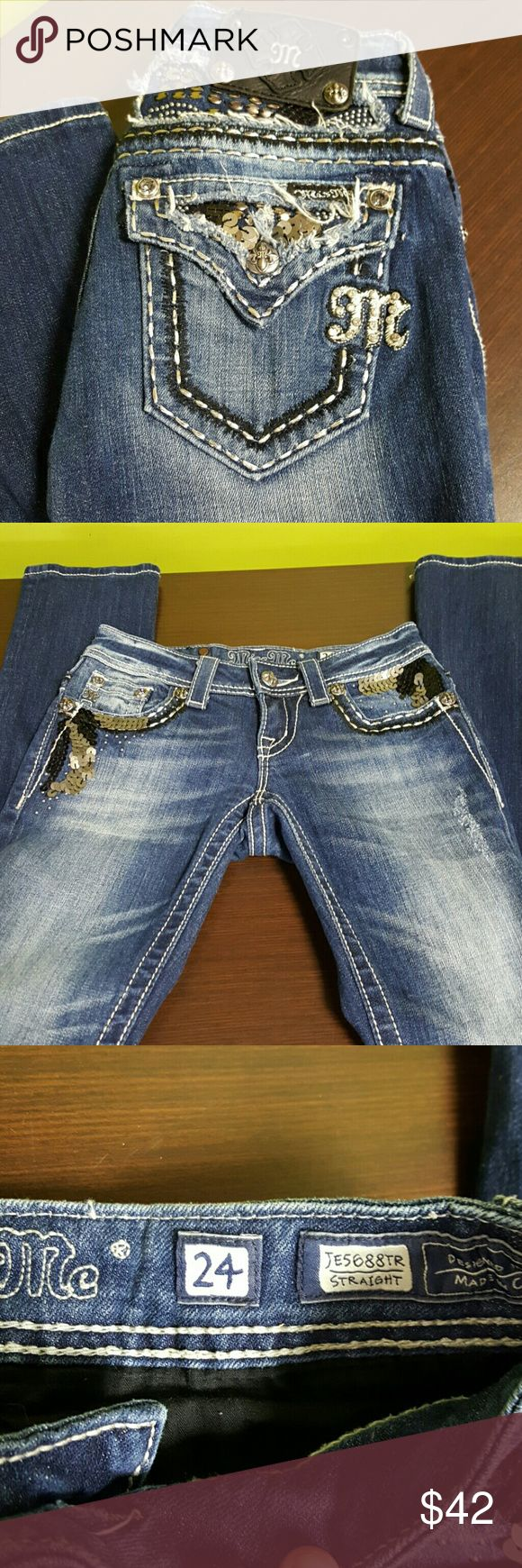 "One day Sale!! Miss me jeans 28"" inseam waist laying flat 12.5""  size 24 euc!  Straight leg Miss Me Jeans Straight Leg"