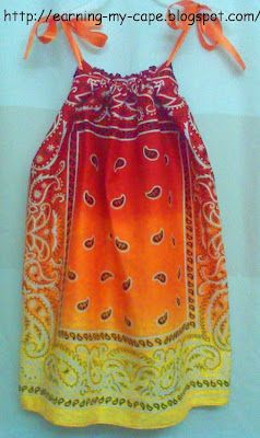 dress made from 2 Bandana's.................................. Earning-My-Cape: As Seen Online...