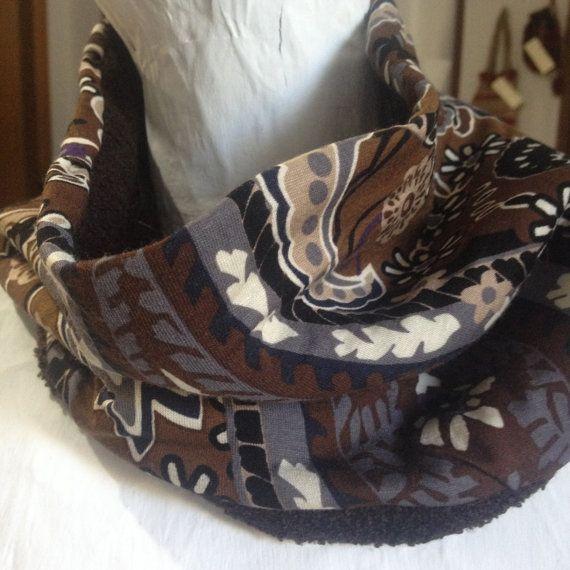 Neckwarmer, cowl, scarf * Handmade brown double sided cowl