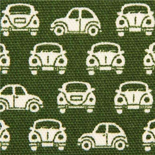 Auto Stoff  von Cosmo  Import aus Japan    grüner Oxfordstoff mit vielen kleinen weissen Käfer Autos  ähnlicher Stoff wie Canvas, dieser Stoff is...