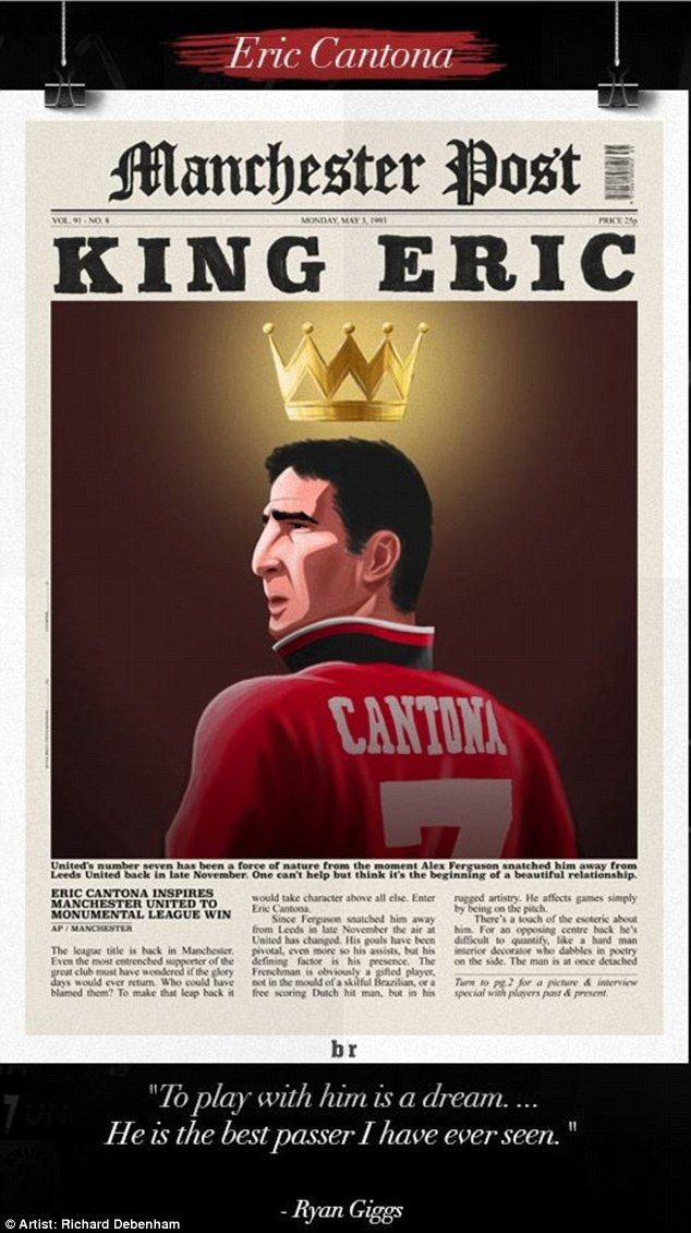 Eric Cantona was rarely out of the headlines and that is celebrated in this artwork...
