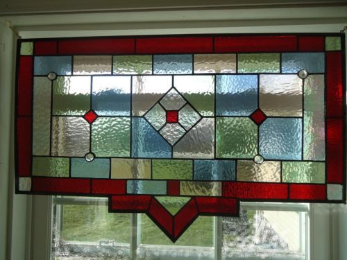 "Tiffany Styled Stained Glass Window Panel Valance Curtain Suncather 28""x 17 5"" 