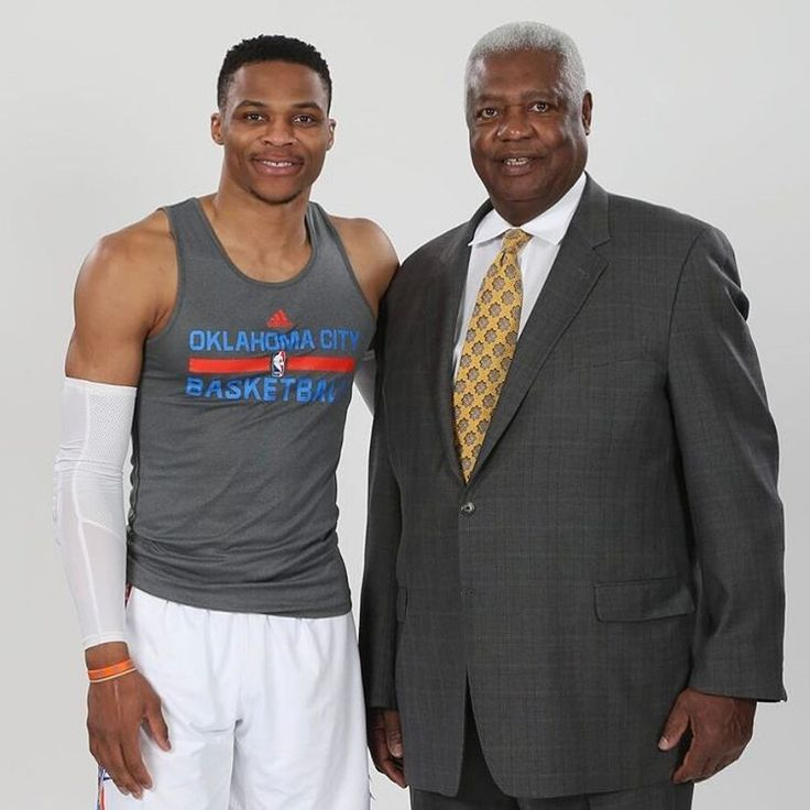 Russ & Oscar Celebrating #hist0ry in OKC. Only 2 in NBA to EVER average a triple-double for a season. #Russ #BigO""