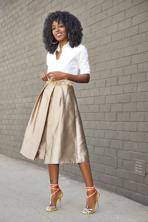 Classic Button-Up Shirt + Gold Pleated Midi Skirt