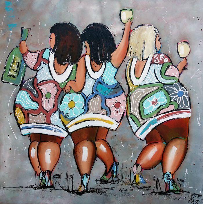 Vrolijk Schilderij Dames warmgrijs
