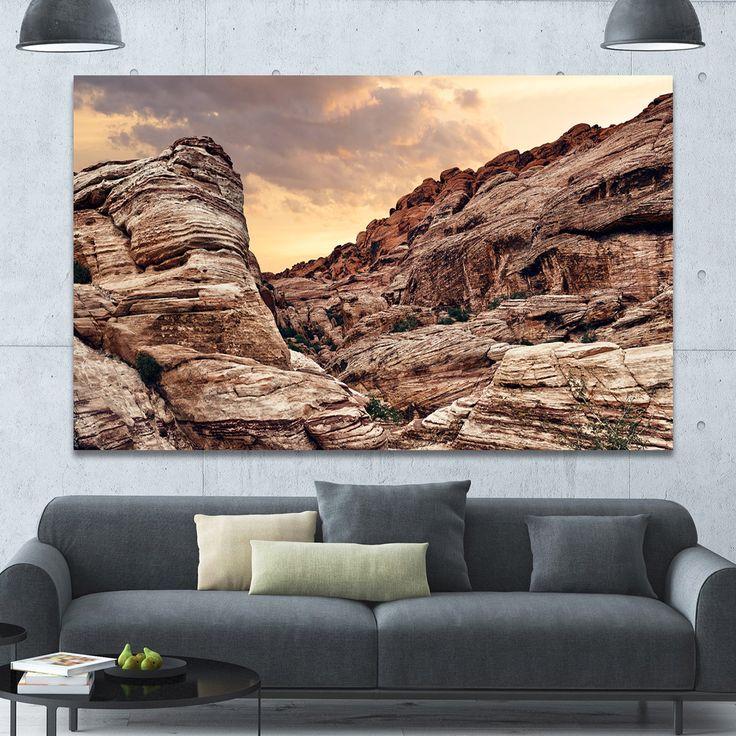 Designart 'Scenic Rock Canyon in Nevada' Extra Landscape Canvas Art Print