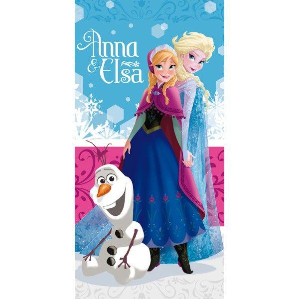 Flot badehåndklæde fra den populære Disney film Frost, med søstrene Anna & Elsa. Badehåndklædet er i 100% bomuld og måler 140 cm x 70 cm