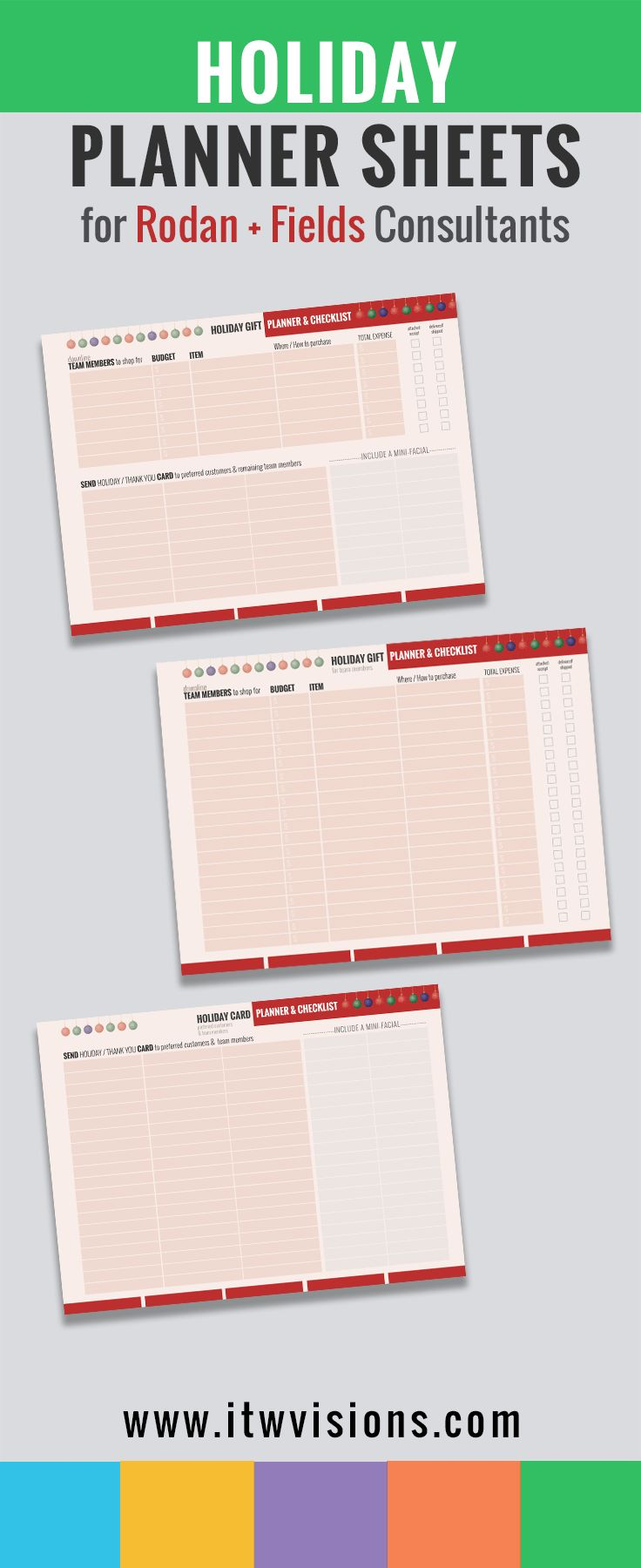 HOLIDAY Planner sheets, instant download, printable , digital download printables are a great way to keep organized while not forgetting about those you'd like to send gifts to; those team members who have helped you grow your business. track and record gifts for team members, checklist to attach receipts. Planning sheets. Holiday. Rodan and fields. Track who to send holiday cards to and when to include a mini facial. Kindly visit itwvisions.com to get a closer look.