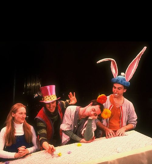 Meryl Streep, Richard Cox, Michael Jeter and Mark Linn-Baker in a reading of Alice (1980).