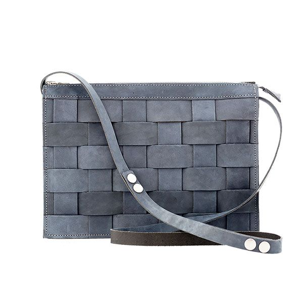 Eduards - Small Leather Shoulder Bag Oily Navy | ENIITO