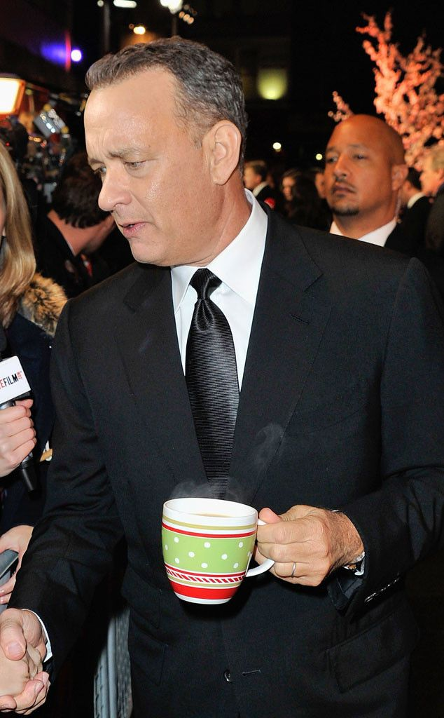 Tom Hanks with tea on the red carpet, classy lad