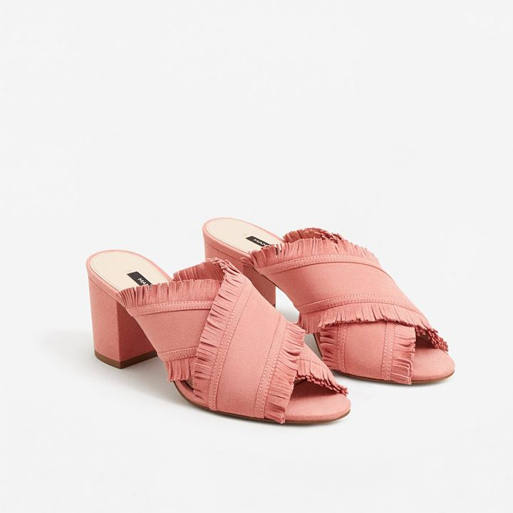 25 best mule shoes to shop this Summer - Mango Leather-Wrap Sandals, pink