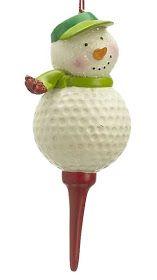 Snowman Golf Ball on Tee Christmas Ornament CF-371