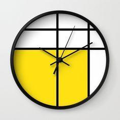 mondrian mondrian 2 yellow wall clock  mondrian by GorgeousGD