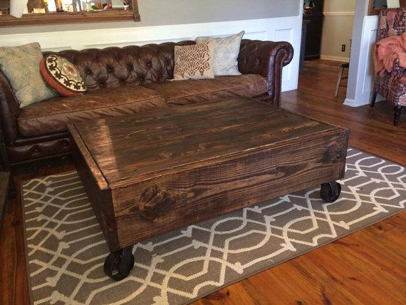 poppets moon the blackbeard coffee table factory cart style w storage industrial casters solid wood modern steampunk rustic