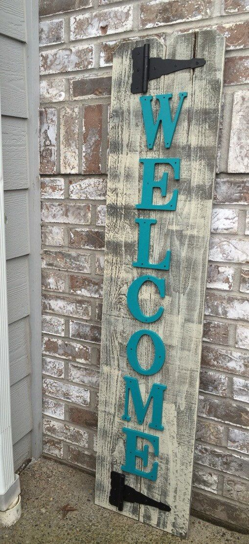 Front Porch Teal Wood Sign Front Porch Welcome by RedRoanSigns