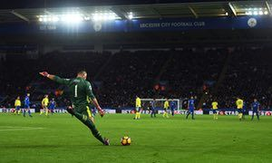 Everton's Joel Robles, finding his range at Leicester in a game where he became the Premier League's 50th keeper to provide an assist.