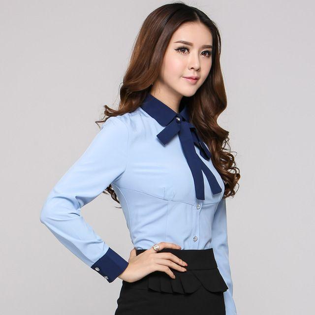Formal para mujer Camisas azules mujeres blusas de manga larga para las damas de la oficina uniforme Camisas OL Camisas femeninas 2015 otoño