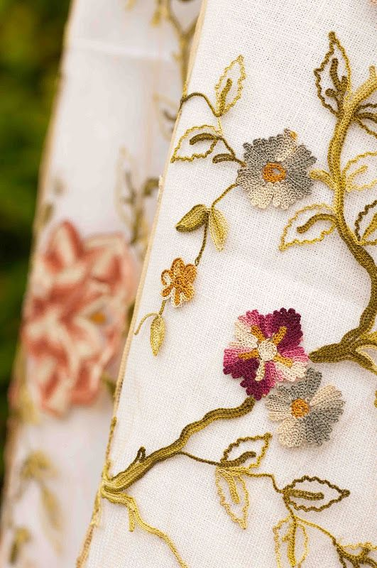 A stunning piece of antique tambour embroidery. A Tamboured Garden