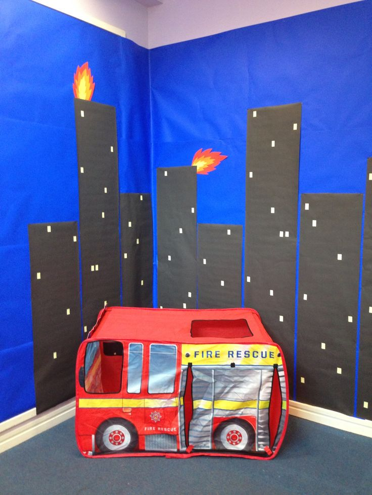 Burning city scene for fire station role play!