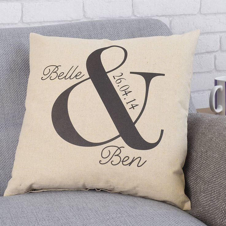 personalised ampersand wedding cushion by tillyanna | notonthehighstreet.com